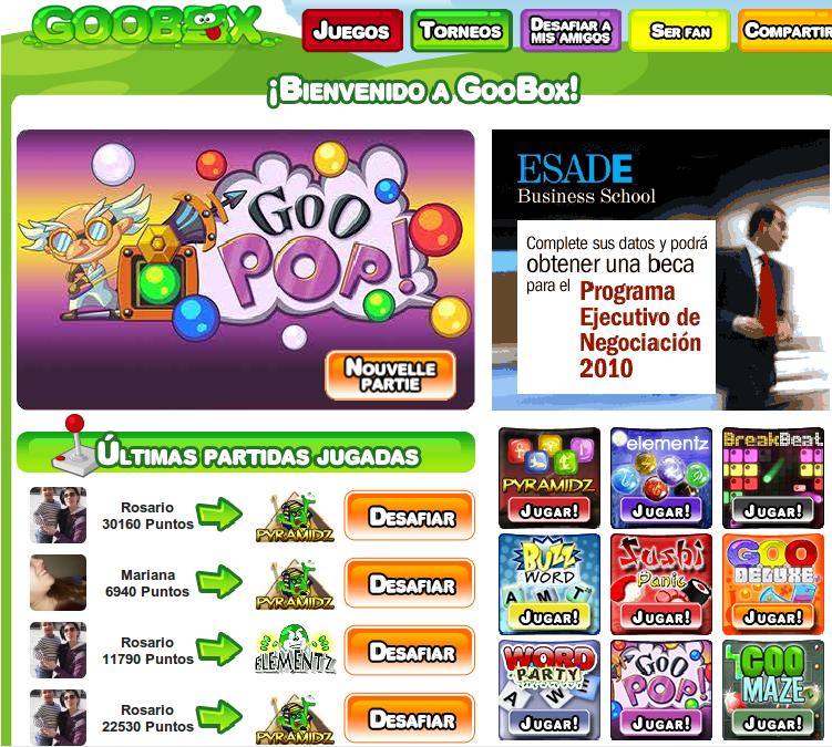 Nuevos juegos en Goobox de Facebook