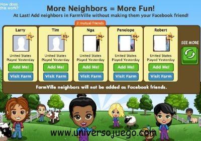 Vecinos en FarmVille, sin necesidad de ser amigos en Facebook